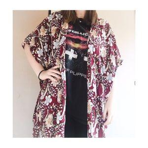Vintage Duster Maxi Boho Floral Kimono